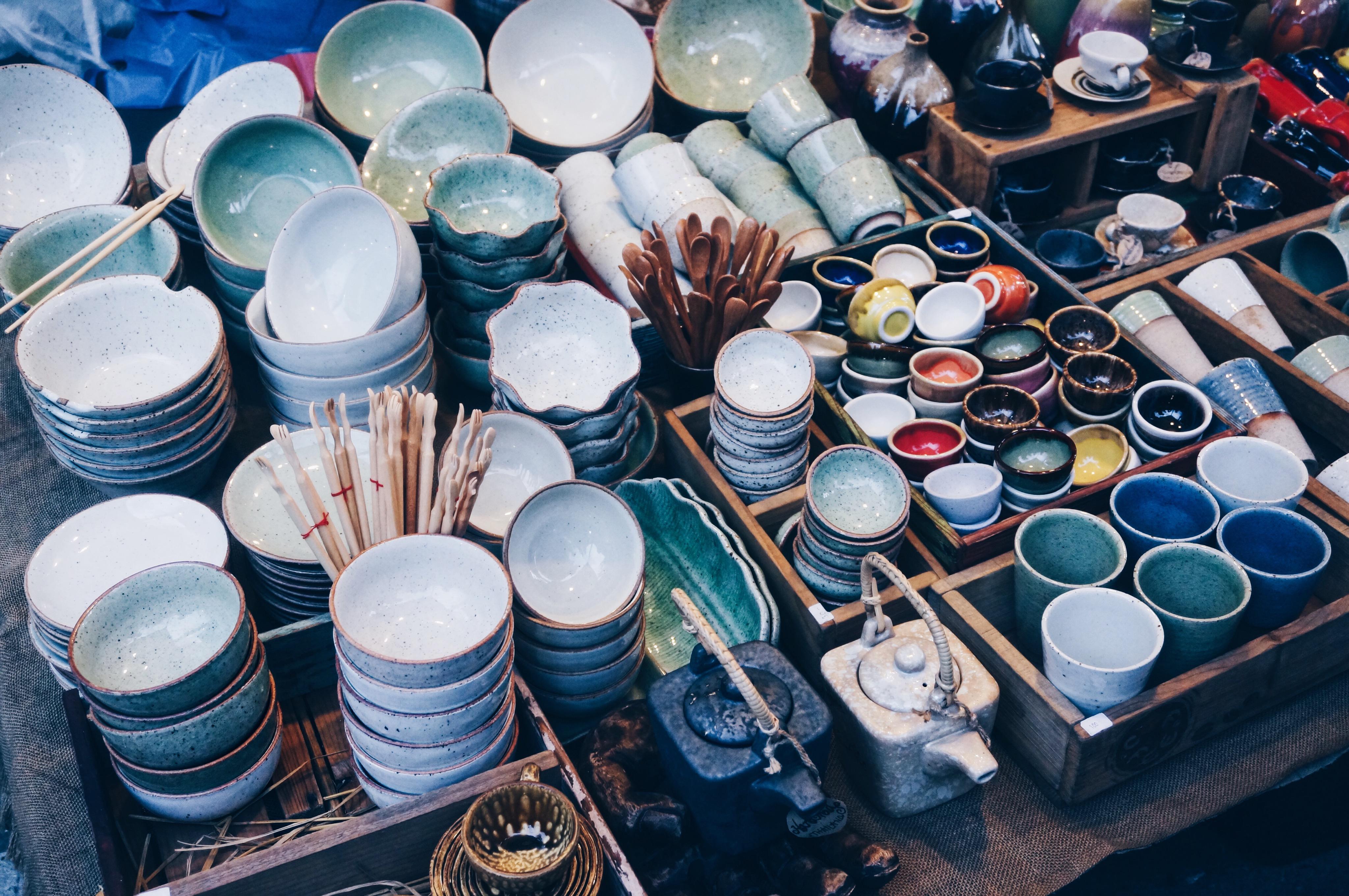 Keramik, Töpferwaren, Schalen, Thailändischer Markt
