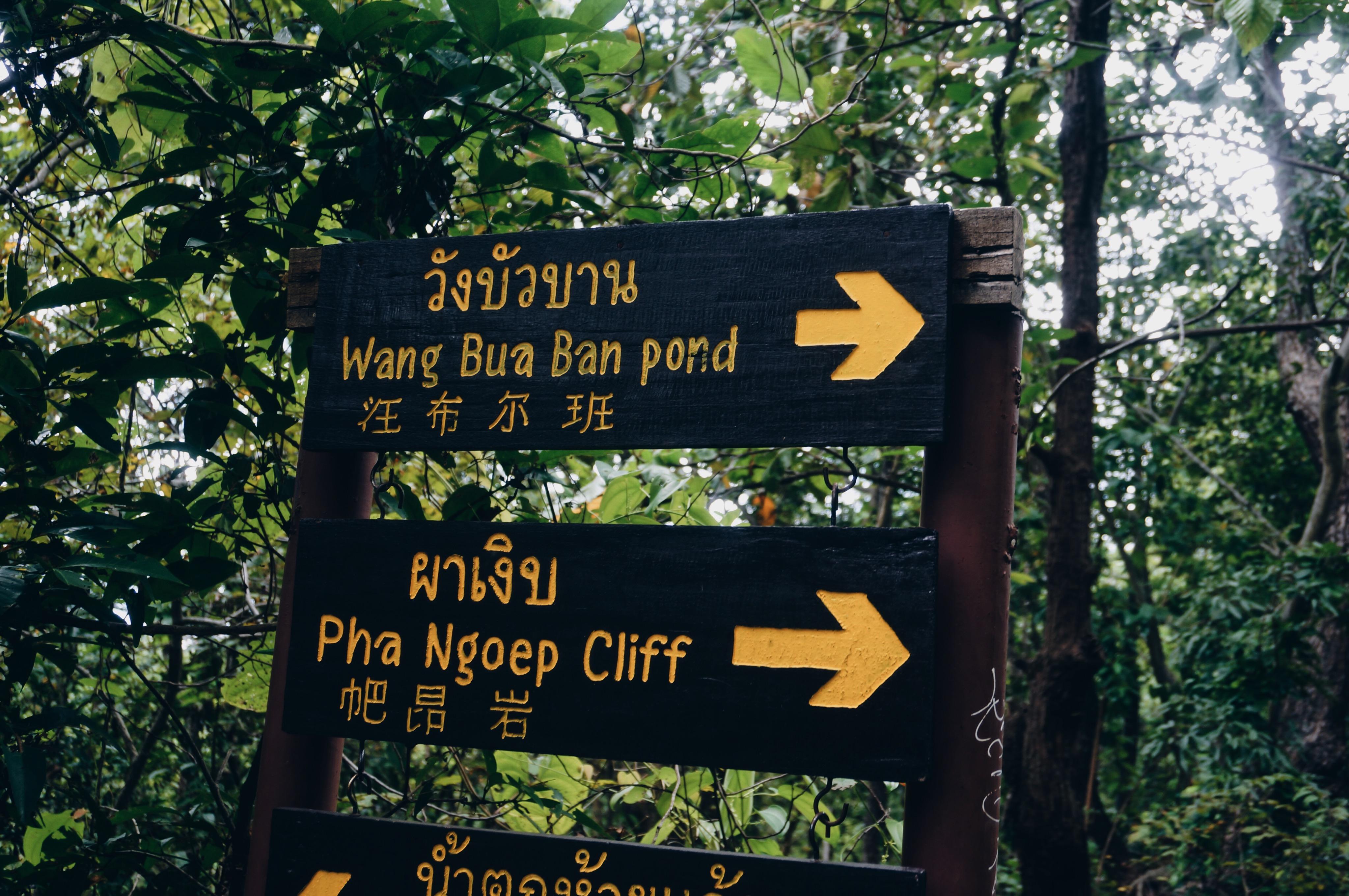 Schild Wasserfall Thailand, Wang Bua Ban Pond